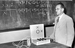 Presenting his naughts and crosses - machine in 1954
