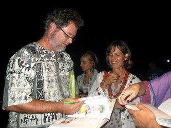 Francois Verster signing books at the KKNK, 2009.